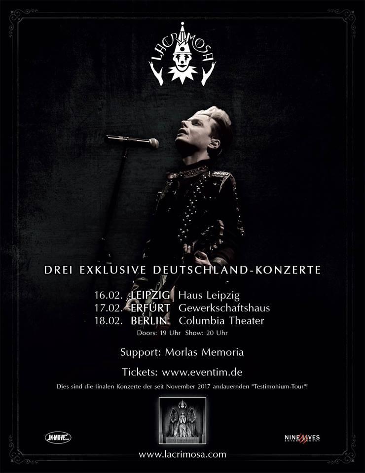 Lacrimosa Testimonium Tour - Support Morlas Memoria - Metal - Rock